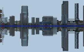 Картинка город, отражение, дома, небоскребы, горизонт, multi monitors, multi-monitor, 3840x1080