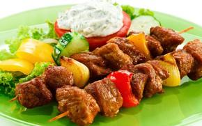 Картинка мясо, перец, овощи, шашлыки
