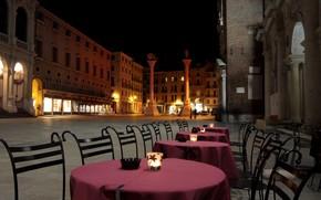 Картинка ночь, огни, дома, Италия, Венеция, столик