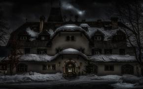Обои зима, снег, дом, праздник, Австрия, Новый Год, Рождество, архитектура