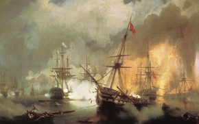 Обои картина, корабль, холст, Иван Айвазовский, масло, баталия, Морское Сражение при Наварине 2 октября 1827 года, ...