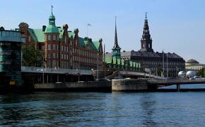 Картинка мост, здание, Дания, bridge, дворец, water, парламент, Denmark, Copenhagen, Копенгаген, København, parliament, здание Парламента, scumbria, …