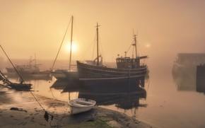 Картинка солнце, туман, лодка, корабль, Англия, утро, порт, гавань, Меваджисси