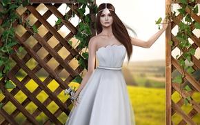 Картинка девушка, ограда, платье, брюнетка