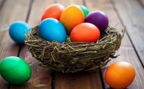 Картинка корзина, colorful, Пасха, wood, spring, Easter, eggs, decoration, Happy, яйца крашеные
