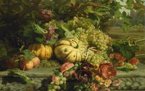 Картинка масло, картина, холст, Натюрморт с Цветами и Фруктами, Gerardina Jacoba van de Sande Bakhuyzen