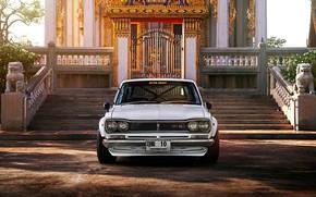 Картинка Авто, Машина, Ниссан, Храм, 1971, Nissan, Фары, Автомобиль, 2000, Skyline, Nissan Skyline, Передок, 2000GT, Японец, …