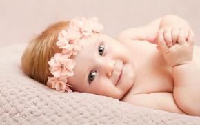 Картинка взгляд, ребенок, девочка, ручки, красивая, smile, beautiful, младенец, hands, glance, Infants