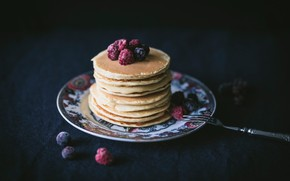 Картинка ягоды, еда, завтрак, выпечка, оладьи