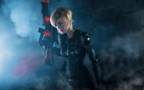 Картинка pistol, soldier, armor, bodysuit, smoke, military, weapon, big, cosplay, blonde, rifle, suit, oppai, Wreck-It Ralph, ...