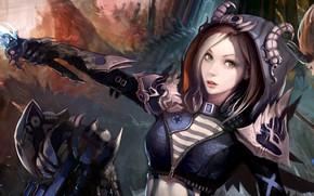 Картинка girl, fantasy, horns, green eyes, weapon, face, digital art, artwork, fantasy art, hood, dagger, Magician