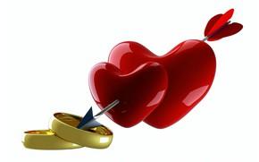 Картинка рендеринг, сердце, кольца, стрела, сердечко, День Святого Валентина