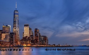 Обои Battery Park City, USA, architecture, Hudson River, NYC, New York City, New York, Manhattan