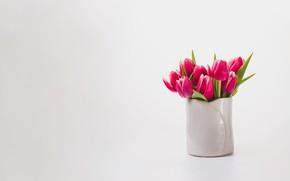 Картинка фон, букет, весна, тюльпаны, ваза