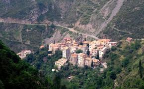 Картинка дорога, горы, Франция, дома, Пьерла