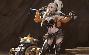 Обои взгляд, девушка, поза, оружие, арт, блондинка, хвост, sci-fi