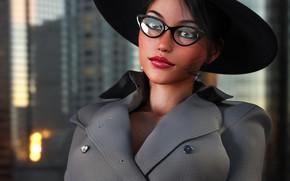 Картинка взгляд, девушка, лицо, рендеринг, шляпа, очки