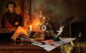 Обои пистолет, перо, картина, рукопись, чернильница, Пушкин