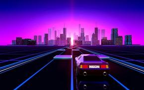 Обои Авто, Музыка, Город, Неон, Ретро, Машина, Фон, Цвета, Графика, Electronic, Retro, Synthpop, Darkwave, Synth, Дорого, ...