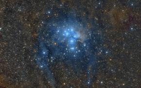 Обои космос, звезды, M45, Звёздное скопление, Pleiades