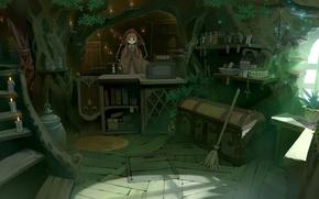 Картинка свечи, окно, лестница, лавка, ведьма, сундук, метла, плащ, колдунья, магазин, полки, товары, касса, прилавок