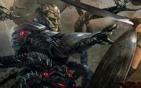 Картинка sword, armor, fight, amazon, shield, Diana Prince, NetherRealm Studios, tentacles, Wonder woman, Injustice 2, Brainiac