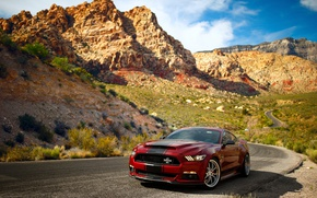 Обои Ford, Mustang, скалы, небо, Super Snake, дорога, горы, Shelby