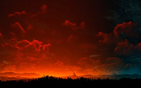 Картинка пейзаж, вечер, Ведьмак 3, The Witcher 3
