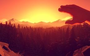 Картинка Закат, Вечер, Горы, Игра, Деревья, Лес, Вид, Рука, Кисть, Холмы, Пейзаж, Campo Santo, Firewatch, Пожарный …
