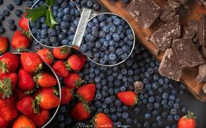 Картинка ягоды, шоколад, клубника, голубика