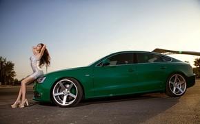 Картинка взгляд, Audi, Девушки, азиатка, красивая девушка, зеленый авто, на капоте