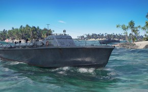 Картинка пальмы, транспорт, техника, катер, Elco 77 ft PT boat