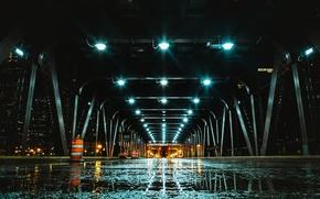 Обои ночь, мост, город, огни
