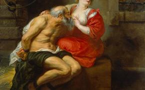 Картинка эротика, масло, картина, холст, Питер Пауль Рубенс, мифология, Кимон и Перо