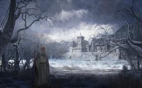 Картинка лес, небо, деревья, горы, птицы, тучи, замок, человек, посох, крепость, wanderlust