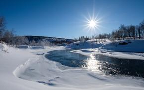 Картинка зима, солнце, снег, речка