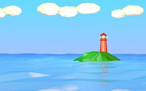 Картинка море, облака, маяк, остров, low poly