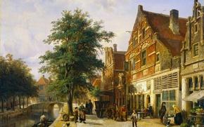 Картинка дерево, масло, картина, городской пейзаж, Корнелис Спрингер, Улица в Энкхёйзене