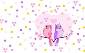 Картинка цветы, веточка, настроение, сердце, арт, птичка, валентинка, детская