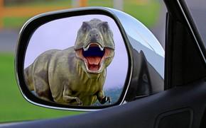 Обои хищник, ужас, T-Rex, пасть, динозавр, авто, Парк Юрского периода, в зеркале