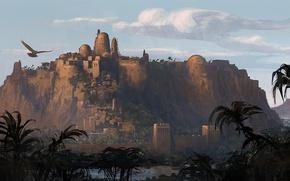 Обои орел, город, египет, здание, вечер, крепость, Assassin's Creed Origins