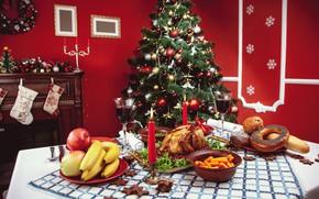 Картинка праздник, игрушки, елка, новый год, декор, праздничный стол