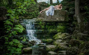 Картинка природа, камни, настроение, водопад, Ele Gance