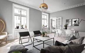 Картинка интерьер, гостиная, столовая, Apartment in Stockholm