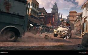 Картинка город, улица, погоня, Uncharted 4, Car Chase