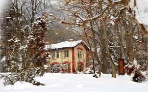 Картинка Зима, Деревья, Снег, Дом, Мороз, Winter, Frost, Snow, Trees