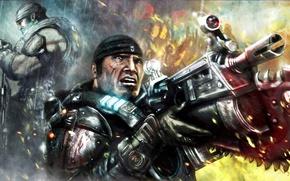 Картинка лицо, арт, солдат, автомат, пила, marcus fenix, gears of wars, Marcus Michael Fenix