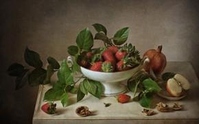 Картинка листья, ягоды, яблоко, клубника, натюрморт, гранат, грецкие орехи