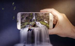 Картинка птицы, природа, фон, фотошоп, водопад, рука, попугаи, каскад, цапля, смартфон