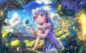 Картинка небо, город, замок, магия, эльф, удивление, сказка, девочка, ушки, голубые волосы, art, Nattorin
